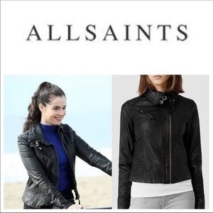 ALL SAINTS brown leather Belvedere moto jacket 4